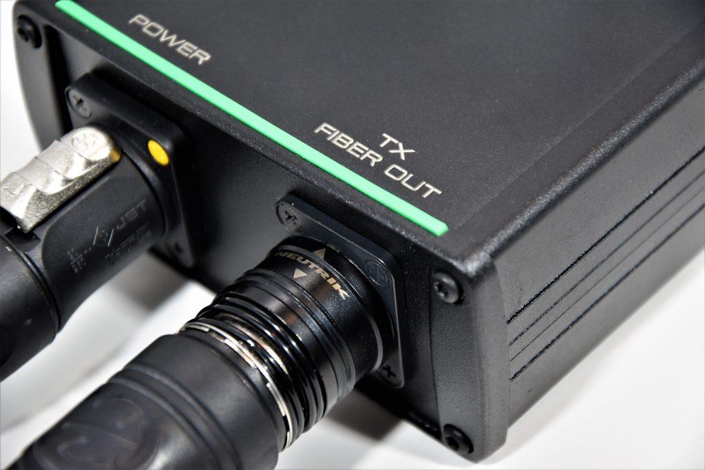 opticalCON fiber optic connector and powerCON TRUE1 plugged into a SXT² 3G-SDI fiber extender