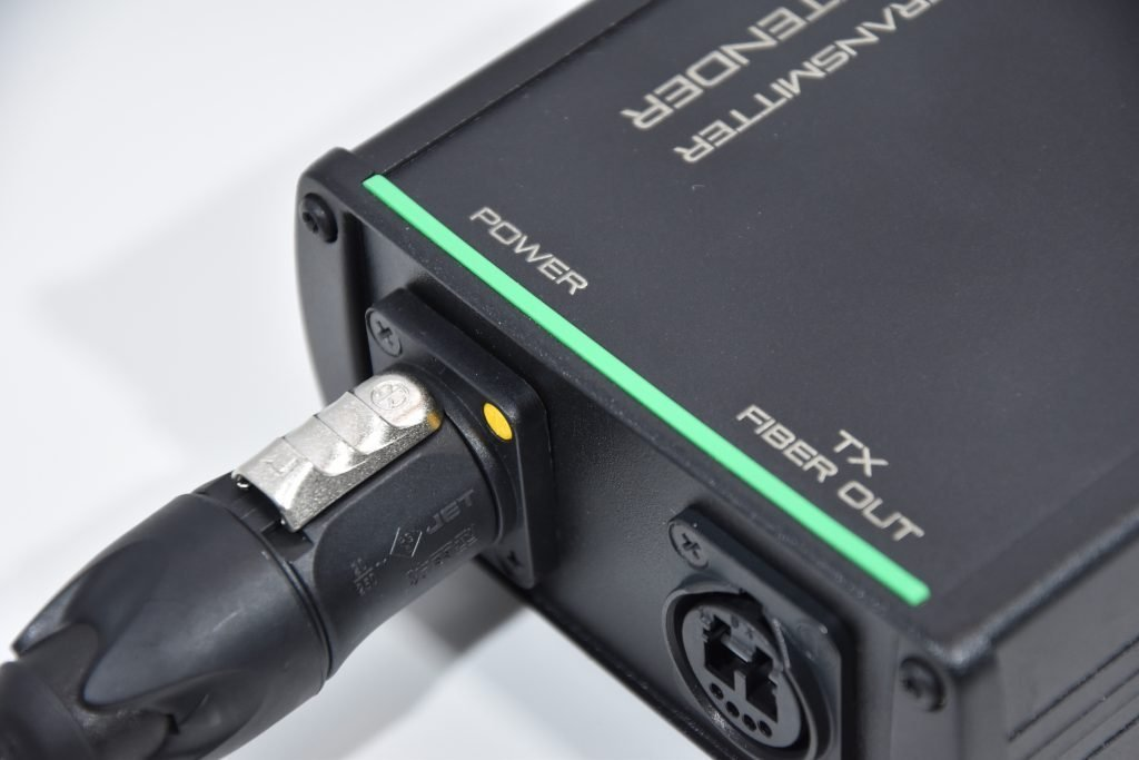 powerCON TRUE1 connector plugged into a 3G-SDI extender